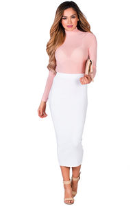 """""""Holly"""" White Soft Knit High Waisted Midi Pencil Skirt image"""