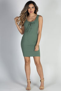 """""""Crazy in Love"""" Sage Green Sexy Bodycon Lace Up Tank Dress image"""