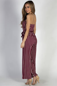 """Effortless"" Burgundy & White Stripes Strapless Wide Leg Jumpsuit image"