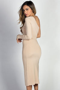 """Avery"" Nude One Shoulder Midi Sweater Dress image"