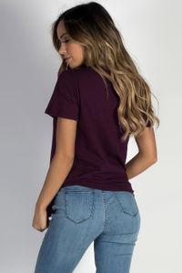 """Bad Girls"" Deep Burgundy Lace Up Shirt image"
