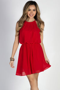 """By Your Side"" Red Short Chiffon Dress image"