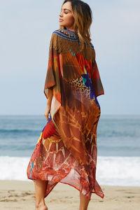 """Tia Maria"" Navy & Brown Leopard Print Chiffon Poncho Cover Up image"