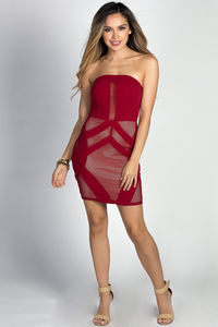 """Nova"" Burgundy Fishnet Cut Out Sexy Strapless Mini Dress image"