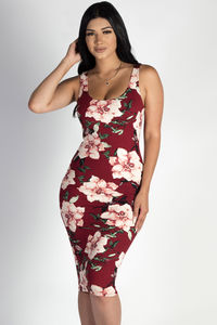 """Me Or Us"" Burgundy Floral Scoop Neck Midi Dress image"