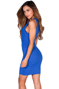 """Mandi""  Royal Blue Twist Front V Neck Sleeveless Short Jersey Tank Dress image"