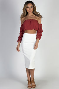 """Ingenuity"" White Pencil Midi Skirt image"
