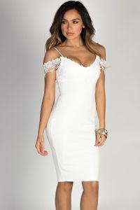"""Timeless"" White Lace Trim Off Shoulder Bodycon Ponte Midi Dress image"