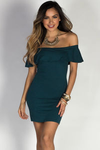 """Endless Summer"" Peacock Teal Short Bodycon Off Shoulder Ruffle Dress image"