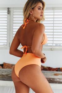 Neon Orange Triangle Bikini Top image
