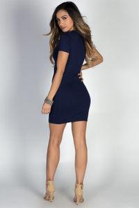 """Zanna"" Navy Keyhole Cut Out Short Sleeve T Shirt Dress image"