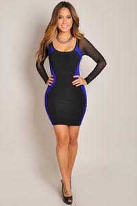 """Danita"" Sexy Blue and Black Mesh Sleeve Optical Illusion Dress image"