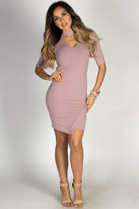 """In the City"" Mauve Ribbed Half Sleeve Asymmetrical Hem Bodycon Choker Dress image"