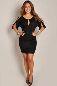 """Fabiana"" Black Keyhole Bodycon Club Dress with Sleeves image"