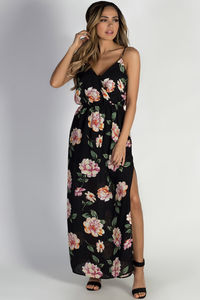 """Summer Romance"" Black Floral Maxi Dress image"