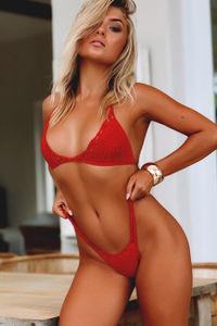 Rosemary Red Bikini Bottom image