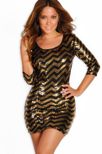 """Gia"" Gold and Black Long Sleeve Open Back Sequin Party Dress image"