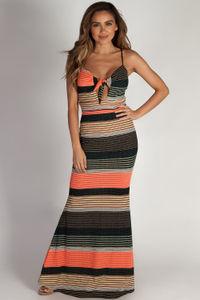 """""""Main Squeeze"""" Multi-Color Striped Spaghetti Strap Maxi Dress image"""