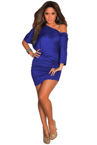 """Courtney"" Royal Blue Sexy Off the Shoulder T-Shirt Dress image"