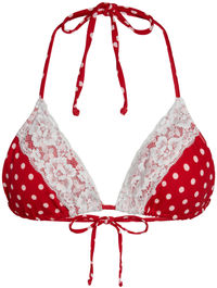 Red Polka Dot & White Edge Lace Triangle Top image
