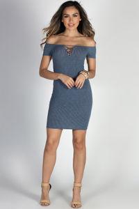 """Stardust"" Blue Crisscross Cut Out Short Sleeve Off Shoulder Dress image"