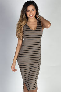 """Chic & Sporty"" Taupe & Black Stripes Hooded Sleeveless Bodycon Jersey Dress image"