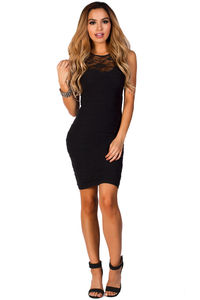 """Lola"" Black Bodycon Lace Cut Out Tank Mini Dress image"