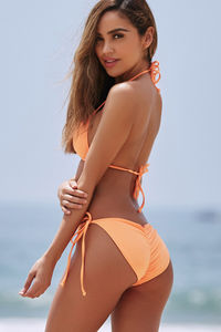 Neon Orange Triangle Bikini Top image