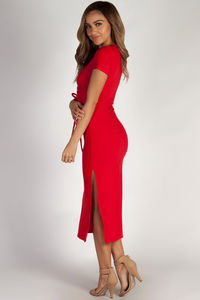 """Next To You"" Pure Red Ribbed Wrap Dress image"