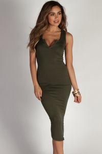 """""""Back To You"""" Olive Split Neck Tank Dress image"""