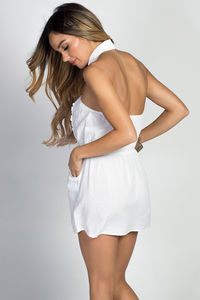 """Suzette"" White Halter Collar Button Down Cotton Shirt Dress image"