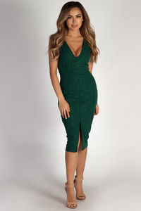 """All My Life"" Hunter Green Glitter Sleeveless V-Neck Midi Dress image"