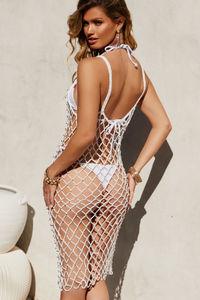 Pearl Jam White Crochet Beaded Dress Cover Up image
