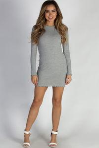 """Just The Beginning"" Heather Grey Ribbed Long Sleeve Lettuce Hem Dress image"