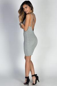 """Come Closer"" Gray Ribbed Knit V Neck Strappy Bodycon Dress image"