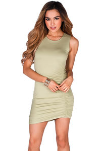 """""""Lindsay"""" Olive Green Ruched Bodycon Jersey Tank Dress image"""