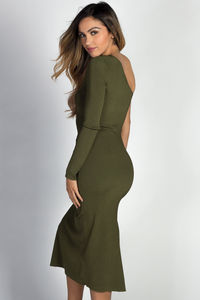 """Avery"" Olive One Shoulder Midi Sweater Dress image"