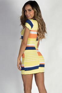 """Varsity Blues"" Yellow Striped Short Sleeve Dress image"
