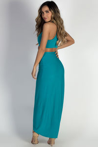 """""""Prima Donna"""" Teal Draped Two-Piece Maxi Dress image"""