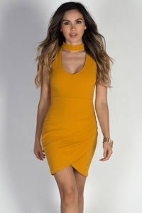 """""""Number One"""" Mustard Sleeveless Choker Cut Out Pleated Wrap Dress image"""