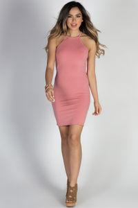 """Private Dancer"" Rose High Neck Halter Racerback Mini Dress image"