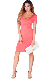 """""""Prue"""" Coral Short Sleeve Jersey Bodycon Casual Dress image"""