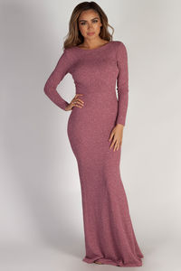 """Above it All"" Mauve Shimmer Long Sleeve Maxi Dress image"