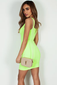 """Always On Time"" Neon Yellow Layered Square Neck Mini Dress image"
