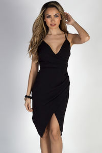 """""""Irreplaceable"""" Black Strappy Pleated Wrap Cocktail Dress` image"""
