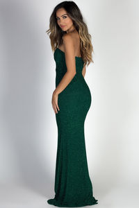 """""""Wish Come True"""" Hunter Green Glitter Strapless Plunging Sweetheart Maxi Gown image"""