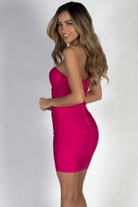 """All About Me"" Fuchsia Sweetheart Bandage Mini Dress image"