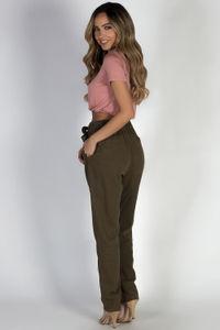 """Exhale"" Olive Khaki High Waist Long Pants  image"