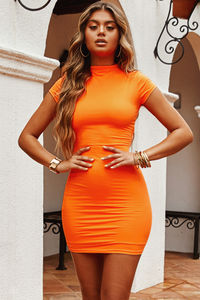 """""""Late to the Party"""" Neon Orange Short-Sleeve Mini Dress image"""