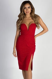 """Keeping My Options Open"" Red Sweetheart Shimmer Dress image"